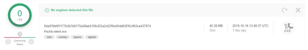 VirusTotal Scan for Packity Application